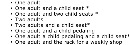One adult One adult and a child seat * One adult and two child seats * Two adults Two adults and a child seat* One adult and a child pedaling One adult a child pedaling and a child seat* One adult and the rack for a weekly shop